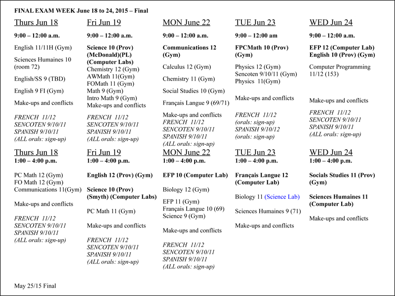 Stelly's: June 2015 Exam Schedule